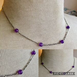 Sterling silver Amethyst Dainty Necklace 925